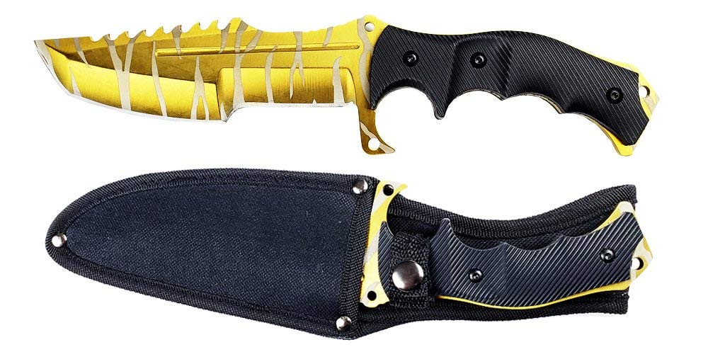 "1Swords CSGO 11"" Tactical Fixed Blade Knife, Full Tang, Gold with White Tiger Stripe"