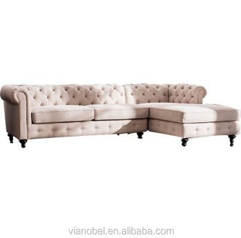 Sectional Sofa Beige Linen Chesterfield Tufted 5 Seats Living Room ...