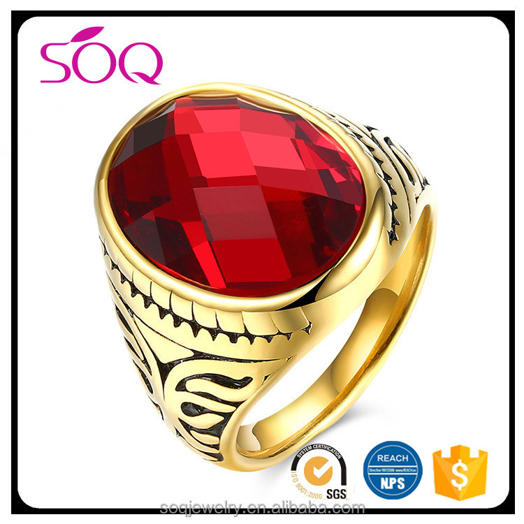 Newest Red Cubic Zirconia 18k Real Gold Plated Anniversary Ruby Ring