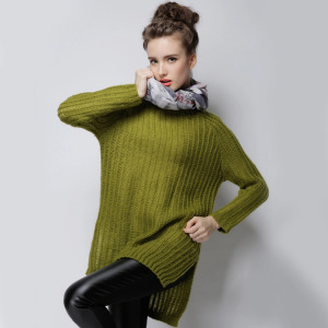 Women Hollow Long Knit Sweater Vertical Stripes Sweater Knit Dress