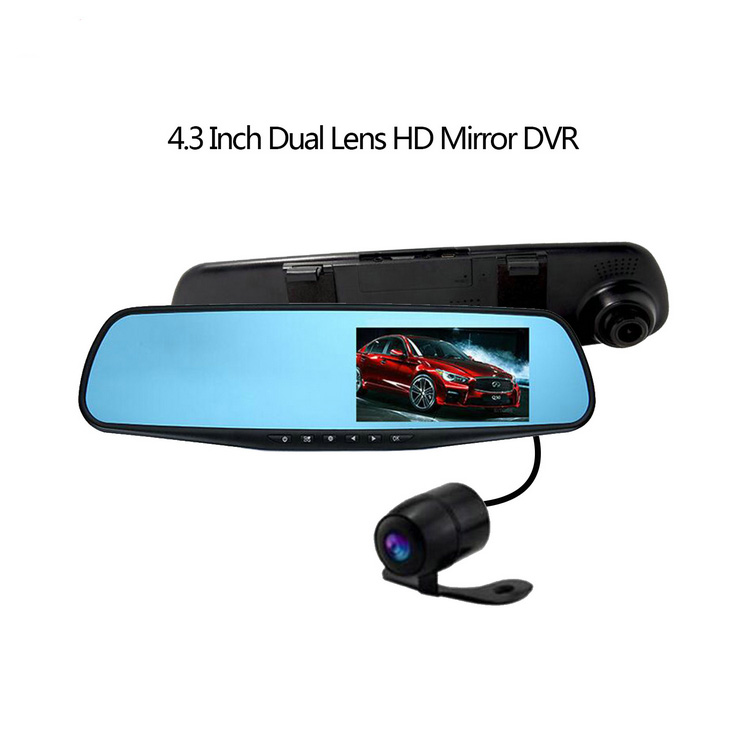 43 pollici Dash Cam Specchio di Rearview Dell'automobile Dvr Hd 720 p Video Recorder Specchio Retrovisore Con Micro Usb Loop registrazione