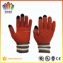 fresh colour knitted acrylic cheap touch screen magic gloves