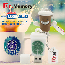 Dr.memory Pen Drive Starbucks Cup USB Flash Drive 4GB 8GB 16GB 32GB Cartoon Bottle coffee mug Usb Flash Memory Stick Disk On key
