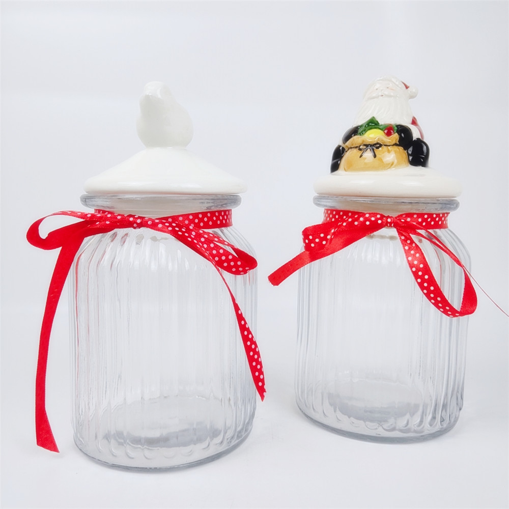 Large Glass Airtight Jar with Santa Claus Ceramic Cover