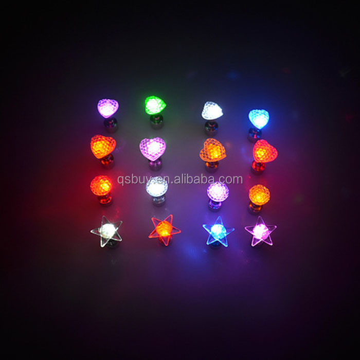 LED Light Up Stud Earings Glowing Earings with Star/Heart/Diamond Pendant Holiday Party Favors