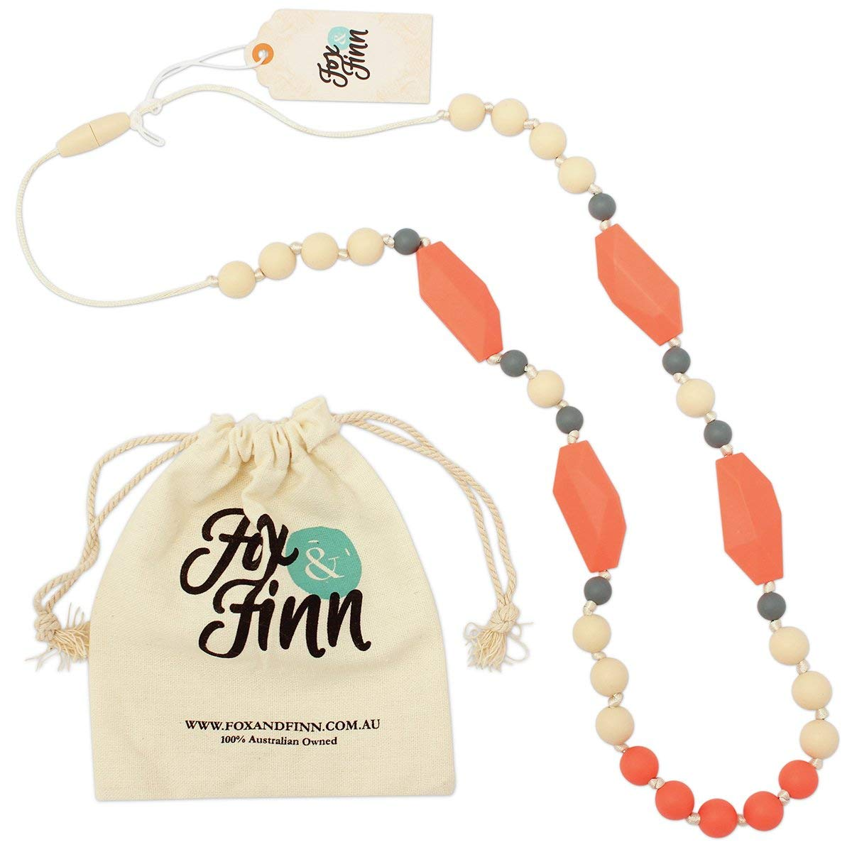Does Not Pull Out Hair sweet marsala + smoke 15 Inch Drop Safety Knotted Silk Rope Fox and Finn Avery Silicone Teething Necklace for Babies