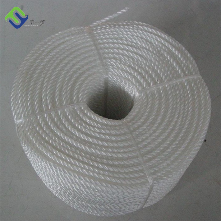 "White 3 Strand Twisted 1/4"" x 600ft PP Danline Polypropylene Rope"