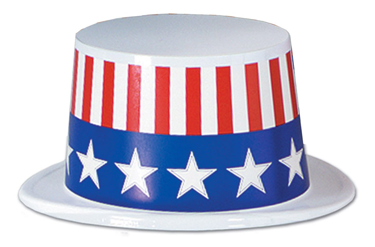 Beistle 66629-W25 25 Pieces Plastic Topper Hat with Patriotic Band, Red/White/Blue