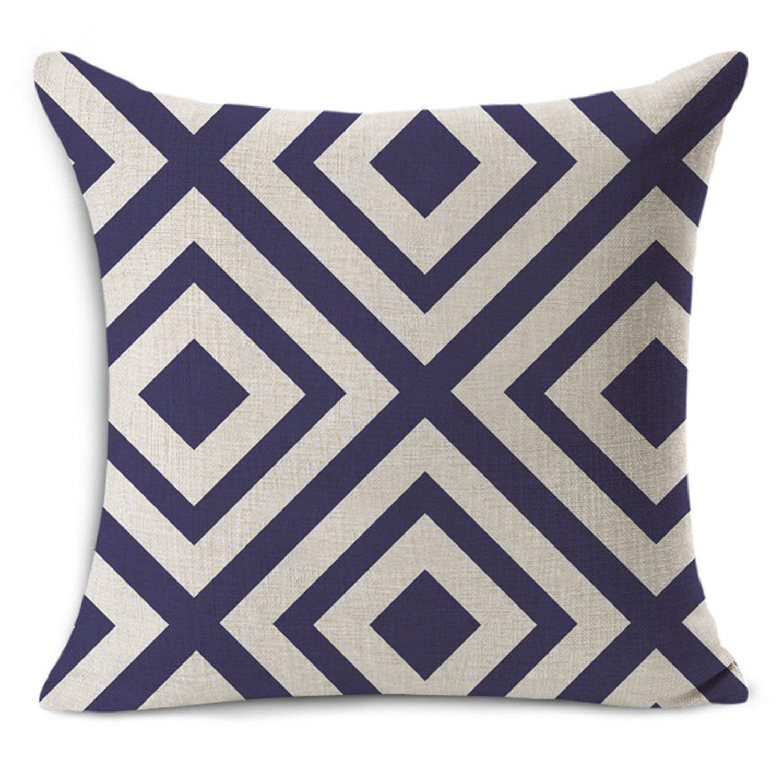 MRxcff New Nordic Vintage Geometric Hd Printed Home Decorative Throw Pillow Cotton Linen Bedding Pillowcase 45X45Cm Square Pillows 21 45X45Cm