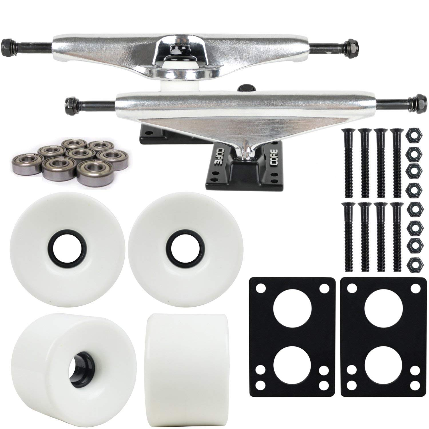 "Longboard Skateboard Trucks Combo Set 76mm Blank Wheels with Silver Trucks, Bearings, and Hardware Package (76mm White Wheels, 6.0 (9.63"") Silver Trucks)"