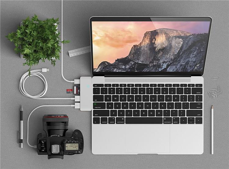 TC501H Aluminum Type-C USB 3.0 3-in-1 Combo Hub for MacBook 12-Inch