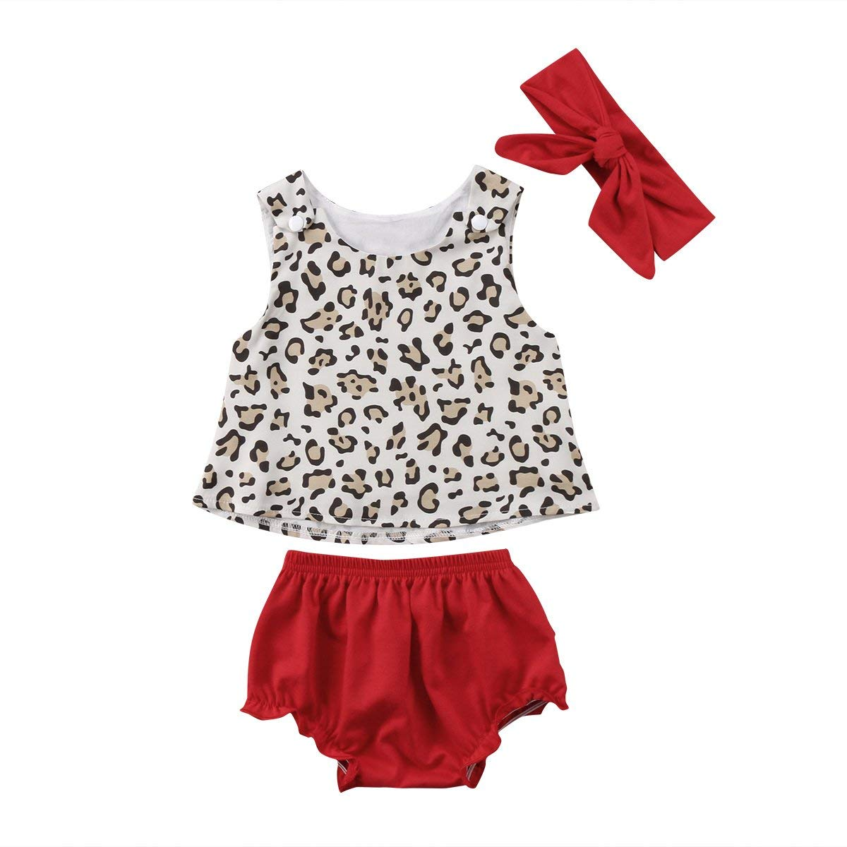 77488d60af29 Get Quotations · ITFABS Newborn Baby Girl Vest Shorts Outfits Leopard  Sleeveless Vest Tops Floral Ruffles Short Outfits with