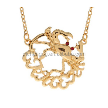 Women Royal Diamond Cancer Symbol Necklace Zodiac Sign Golden