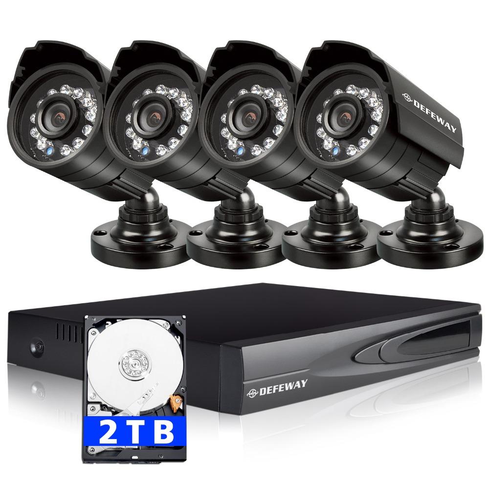 DEFEWAY 4ch NVR Kit for IP camera 4ch 960H video surveillance DVR KIT 4X800TVL outdoor camera onvif  CCTV System 2TBHDD