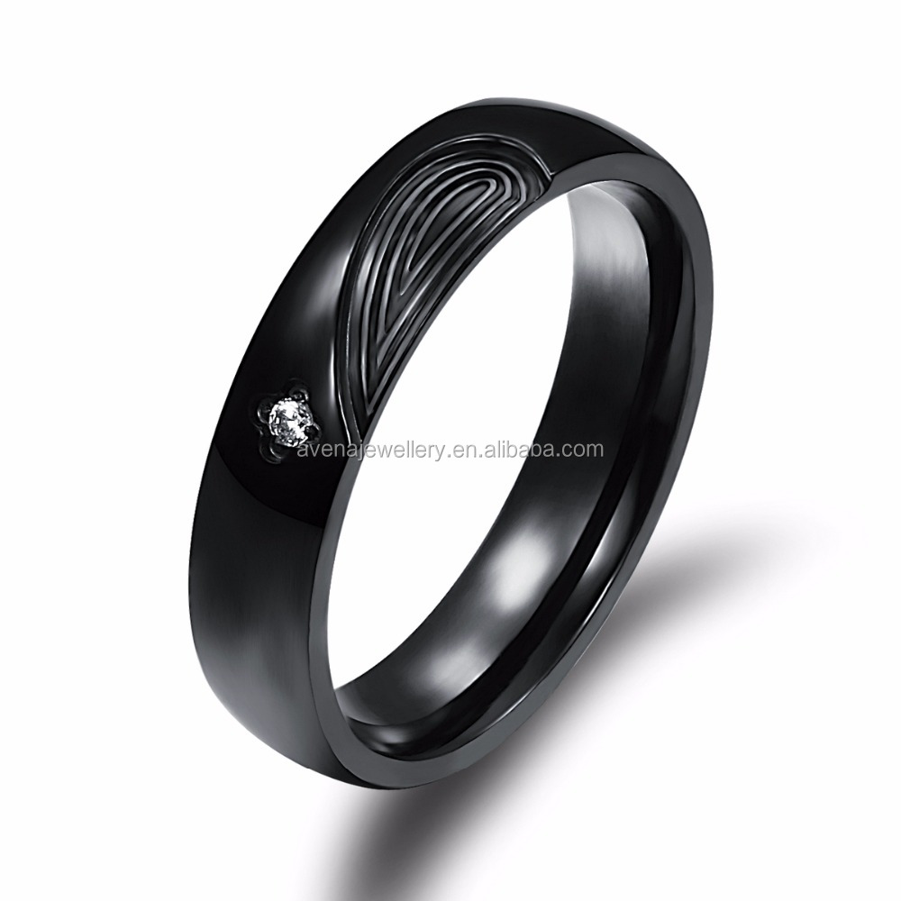 Couple Jewelry Rings for Men Stainless Steel Men Rings with Zircon Black Rings for Him Jewelry