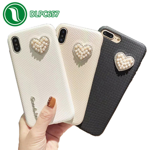 New product for iPhone X Soft shockproof diamond pearl loving heart pattern mobile phone back cover for iPhone X
