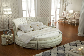 Champagne Color Silver Painted Round Bed, Tufted Upholstered King Size  Leather Bed,Contemporary Style