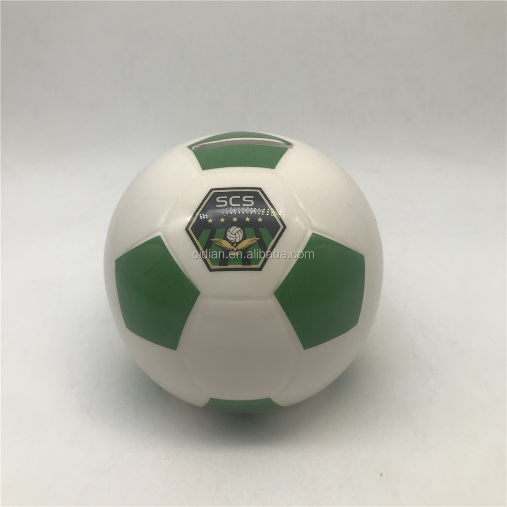 White football ceramic saving piggy bank ball shape porcelain money bank