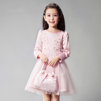 QGZ035 Children's new spring and autumn 2017 Korea round neck dress long sleeve lace dress