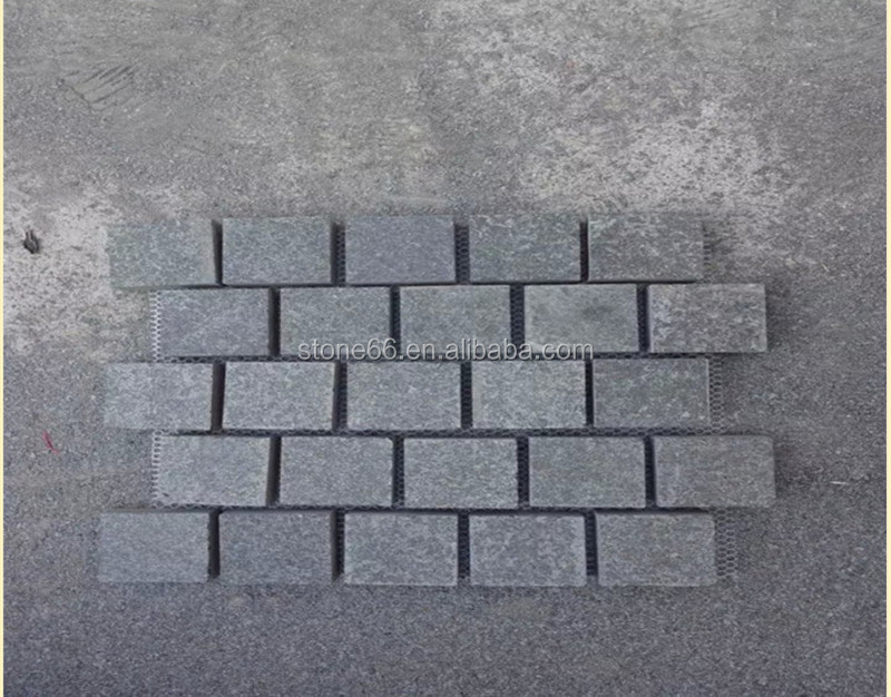 Granite Cobblestone Paver for Driveways G684,Mesh Back Paver Stone