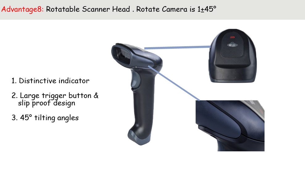 Quality Wireless 2D Barcode Reader IP57 Laser Scanner Gun Support PDF417 QR  Code Reading From Screen With Stand Needn't Driver Obd Ii Scanner Obd