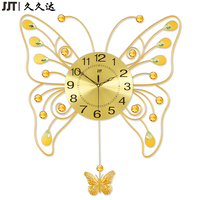 Large Living Room Decorative Metal Butterfly Swing Wall Clock Themes