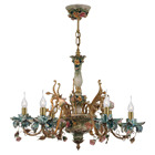 Antique French Chandelier Pendants Blue,Pink & Purple Colorful Porcelain & Brass 6/8 Lights