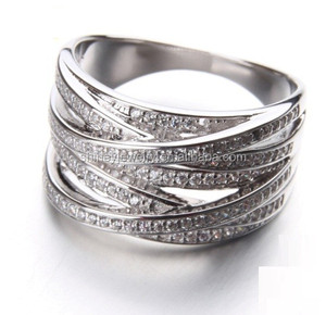 high quality multi layer micro pave cz women ring jewelry,925 silver ring