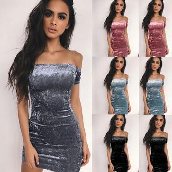 Sexy De Buy Barato X80771b Elegante Casual Vestido Moda Señora las Mujer Noche Un 2018 Club Hombro Señoras Satén Barato YHeW29IDE