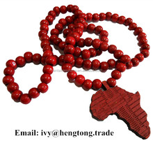 China manufacturer wood beads Africa map pendant neckalce antique rosary necklace