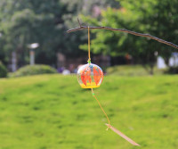 Beautiful yellow leaves glass wind chime