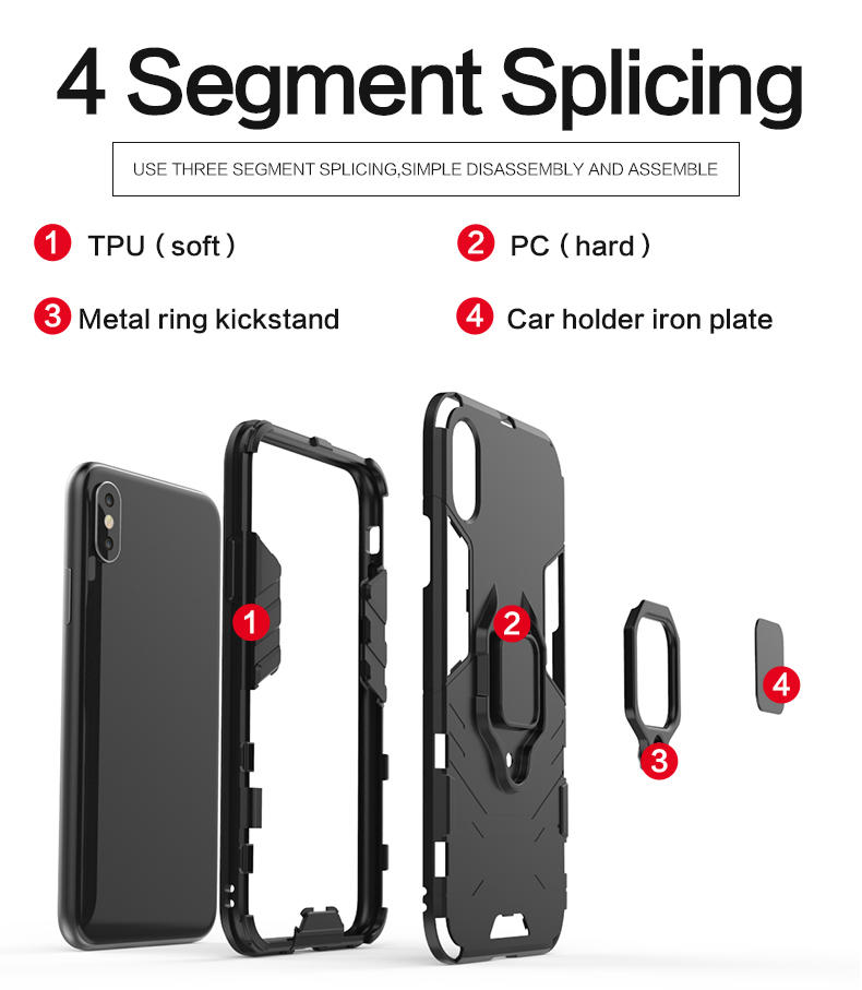 Magnetic Attraction Finger Ring Kickstand Shockproof luxury tpu pc phone cover cases for Samsung s9 plus Phone cover case