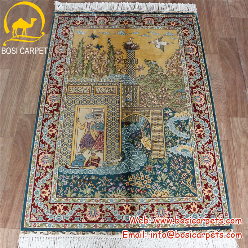 2.7'x4' China nanyang handknotted french modern turkish design natural silk handmade area carpet
