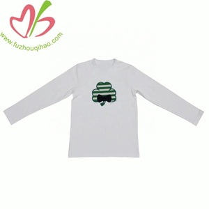 Wholesale Boutique Boys Clothing Longsleeve Kidswear with shamrock applique boy's Valentine Day t shirt