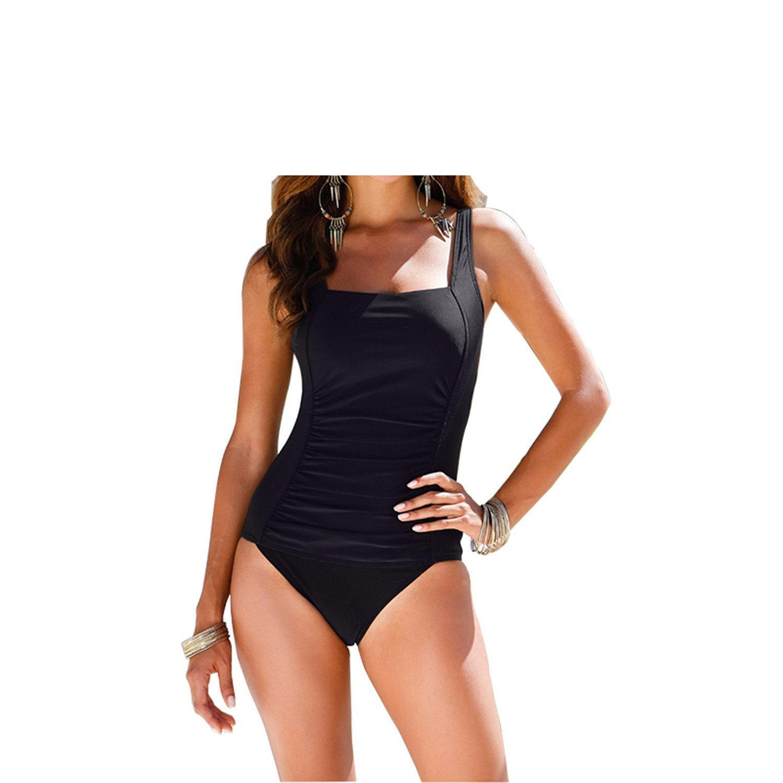 3c14abe82a Get Quotations · Blesky Plus Size Swimwear Female Polka Dot One Piece  Swimsuit Women Vintage Bathing Suit One-