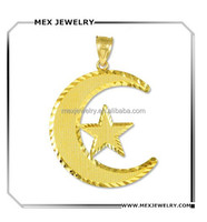 Middle Eastern silver 14k White Gold Islamic Charm Crescent Moon and Star Pendant