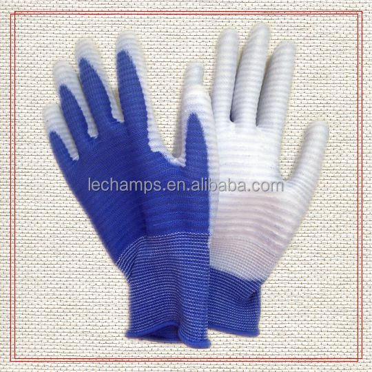 Blue Zebra Style knitted Nylon Glove with White PU Coated Hot Sale!