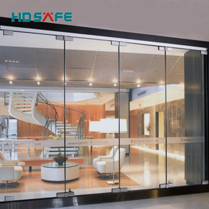 stainless steel interior frameless folding sliding doors with tempered glass