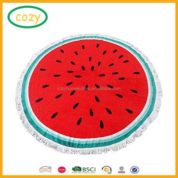 14f1e913e8 2017 Hot Sale Watermelon Shaped Round Beach Towel With Printing Custom Logo