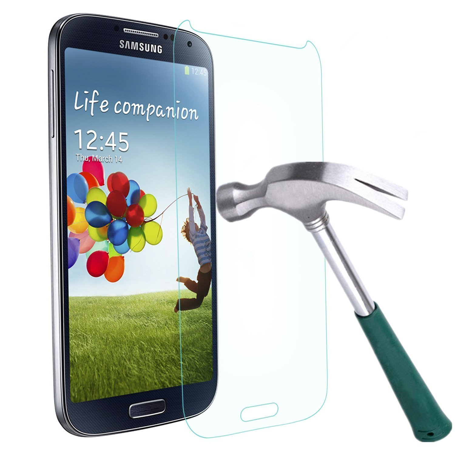 Galaxy S4 Screen Protector,TANTEK [Bubble-Free][HD-Clear][Anti-Scratch][Anti-Glare][Anti-Fingerprint] Premium Tempered Glass Screen Protector for Samsung Galaxy S4,[Lifetime Warranty]-[1Pack]