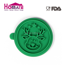 Food Grade Eco-friendly Elk Shaped Silicone Cookie Pastry Biscuit Stamp