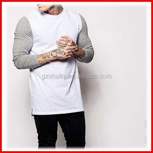 Men Longline Long Sleeve Slim Fit T-Shirt With Contrast Sleeves & Dropped Hem
