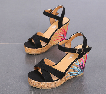 hot sale factory wholesale WOMEN Thick 10cm high heel cork PU fabric beach buckle wedge casual shoes