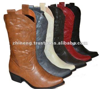 Womens Cowboy Western BootsCalf High In BlackRedDark Brown