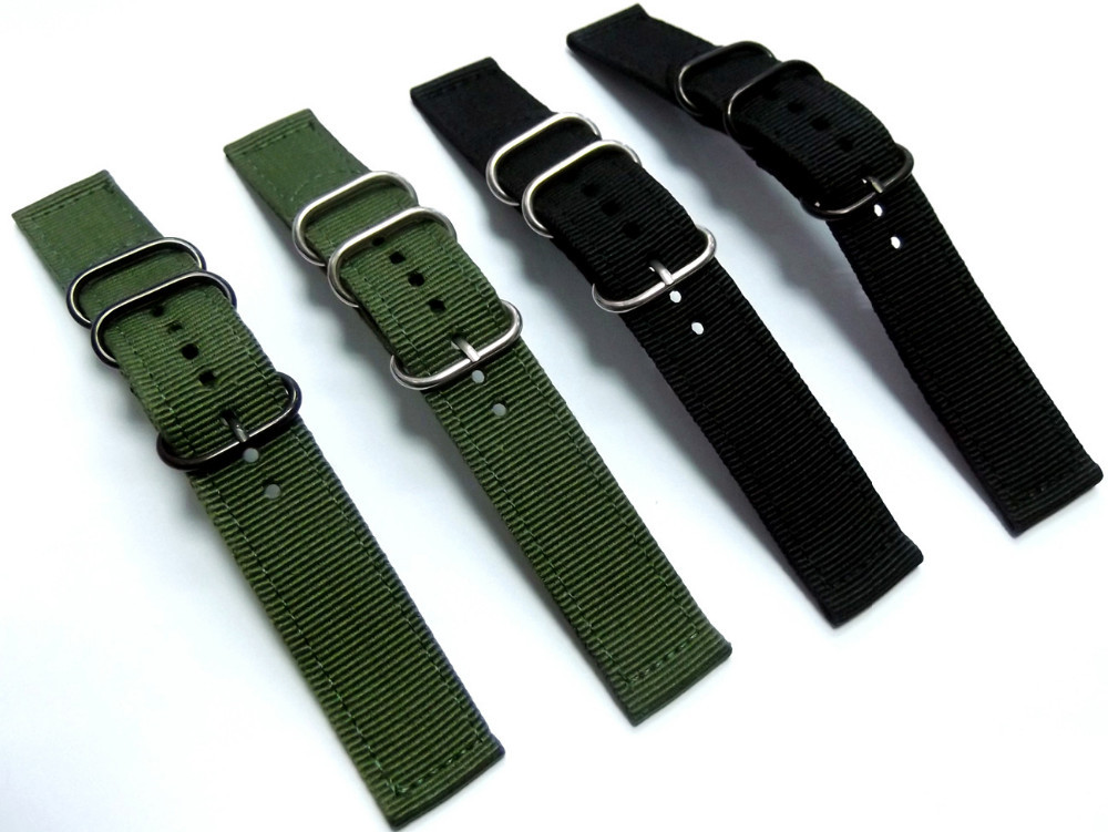 High Quality Waterproof NATO Nylon Watch Strap Belt 22mm Black Army Green Pin Buckle G10 Military Nylon Watchbands Free Shipping