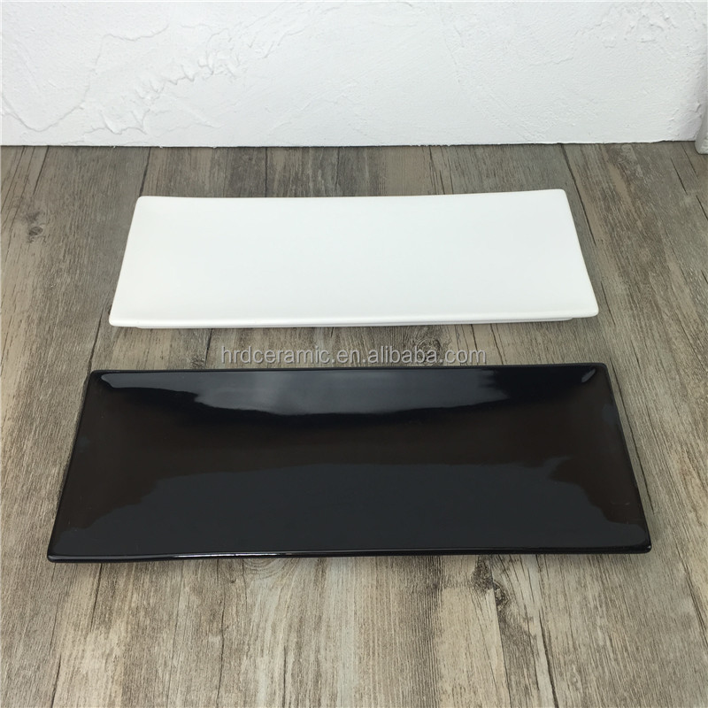 black and white rectangle porcelain plate ceramic Japanese style Sushi plates
