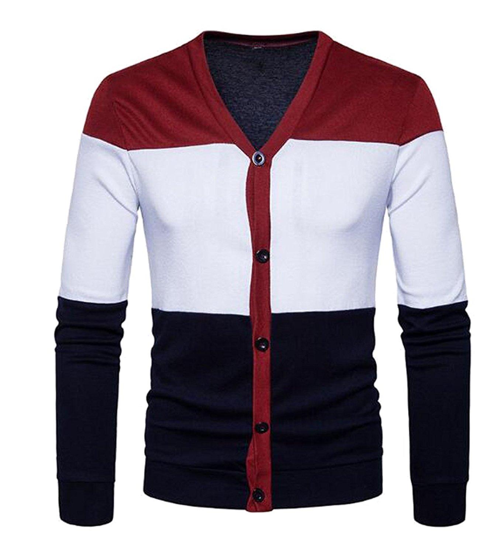 Generic Mens Slim Stripe Light Weight V-Neck Pullover Sweater