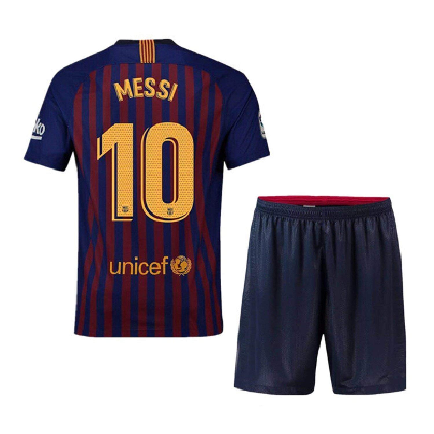 d4160d55a46 Get Quotations · Fiueker Youth Messi Jerseys Barcelona #10 Soccer Jersey  2018/2019 Home Shirt & Shorts