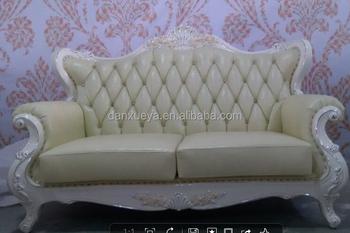 Antique Reproduction Furniture Wholesale , European Wood Frame White Leather  Sofa