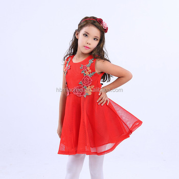 188f1c844 Embroidered Flower Children Dress Pink Red Color Little Girls Party Wear  Western Baby Girl Frocks Designs